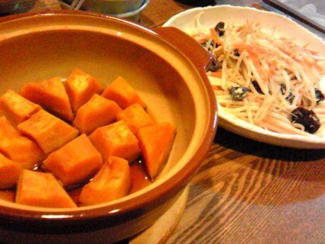 南瓜の含め煮ともやし炒め