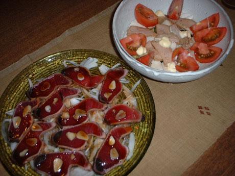 鰹のタタキとサラダ