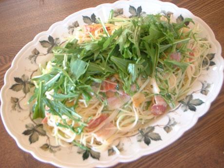 水菜とパンチェッタのフェデリーニ