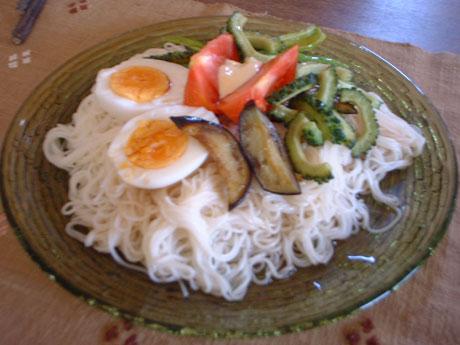 夏野菜のぶっかけ素麺
