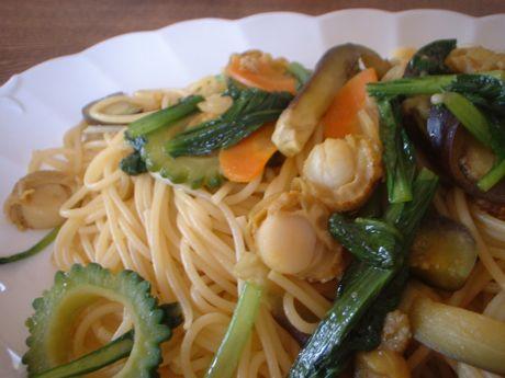 ベビーホタテと夏野菜のパスタ