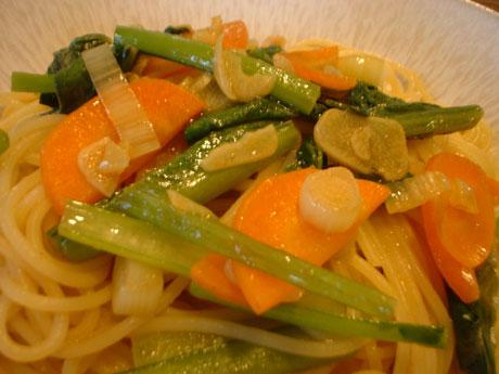 小松菜のカレー味パスタ