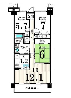 サンシティ西京極1番館11階間取り