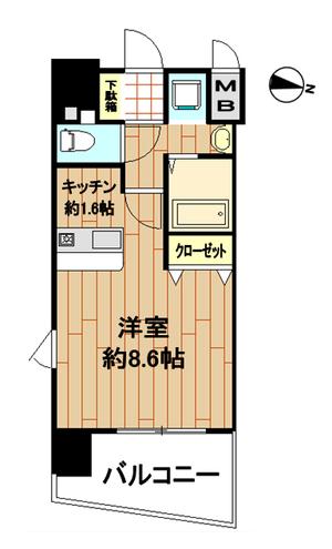プレサンス京都烏丸NEXT301号室 間取り