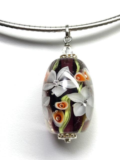 とんぼ玉Garnet red 花