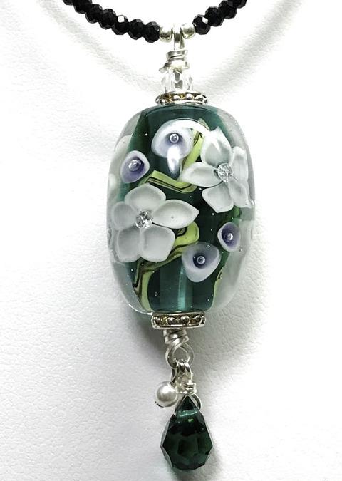 とんぼ玉Teal Green 花 (1)