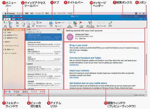 Outlook 2016基本的な画面構成