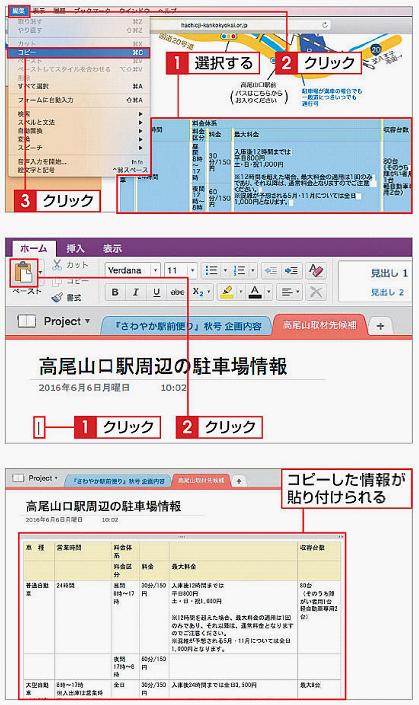 Webページから情報をコピーして貼り付ける