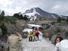 氷河でスキー