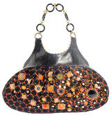 Surya Lace Leather Hobo Bag with Acrylic Handles in Orange RM758