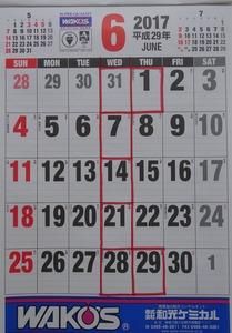 29年6月カレンダー