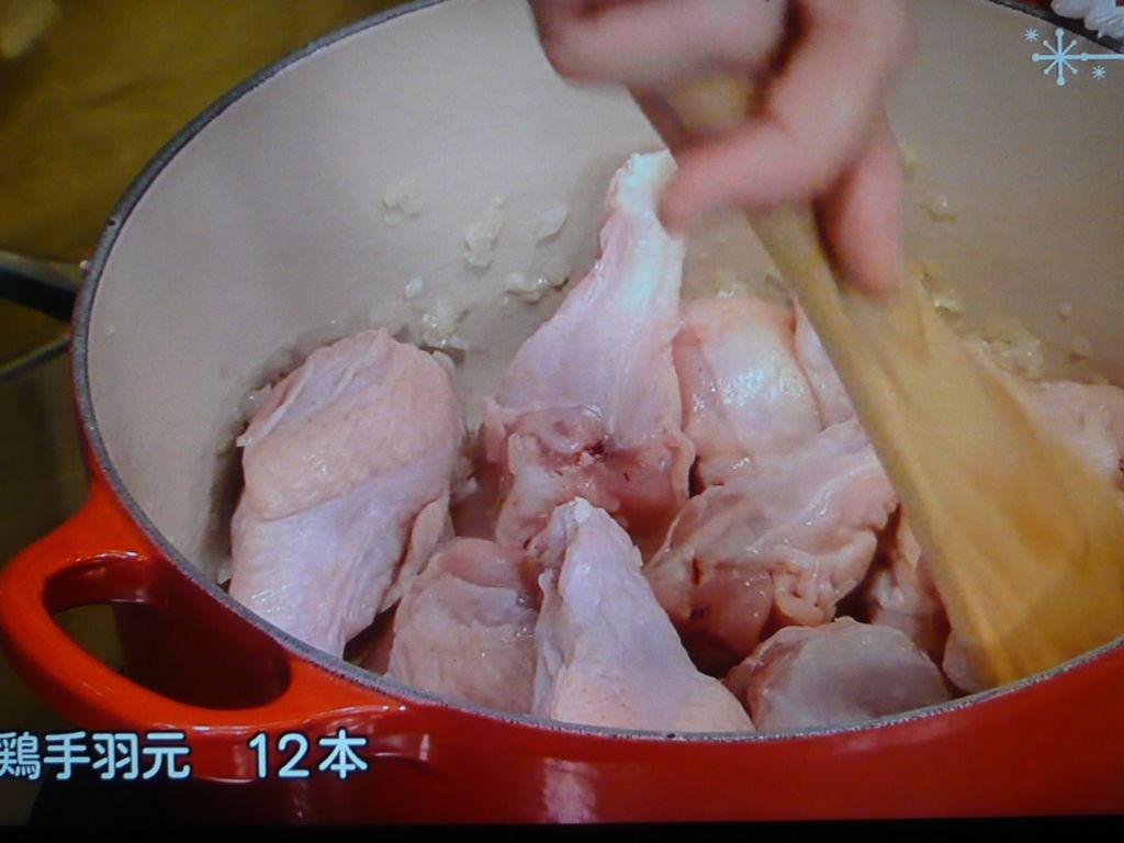 鶏肉を炒める
