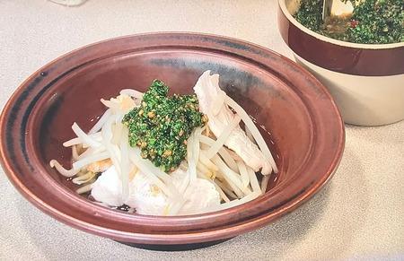 【もやしとささ身の鍋 にらのソース】レシピ1