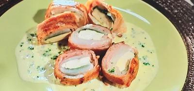 【大根と豆腐の豚ロール】レシピ