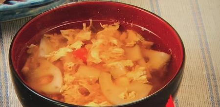 【根菜の卵とじ汁】レシピ
