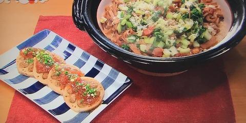 【メンマとベーコンの炊き込みご飯】【レンコンの肉詰め 梅ソース】