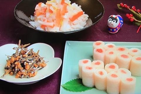 3分クッキング【くるみ田作り】【紅白サラダ】レシピ
