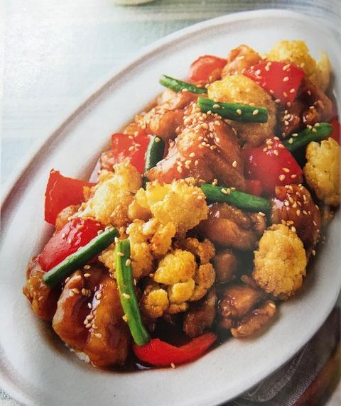 【揚げ鶏とカリフラワーの甘ダレ炒め】レシピ