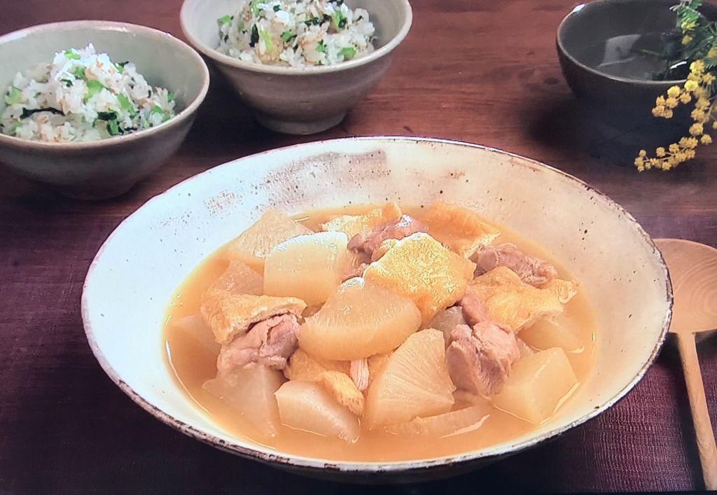 【鶏肉、大根、油揚げの炊き合わせ】【小松菜とじゃこの菜めし】