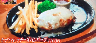 【モッツァレラチーズハンバーグ(1160円)】
