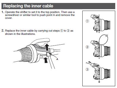 自転車の 自転車 変速機 グリップ 交換 : 中のケーブルを通す部品は今回 ...