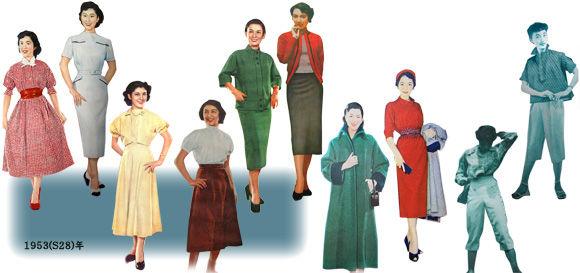 誌面を見る限りは、1950年代を通じてわりとそういう傾向じゃないかと思います。ただ、現在よりも洋服は入手しずらい大切なものでしたから、実際に着る(作る)場合は
