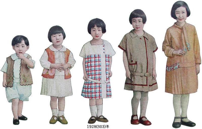 左から、二三歳男女兼用服(ギンガム)、四五歳女児服(メリンス)、六七歳女児服(コレアンクロース/朝鮮ギンガム、ポプリン)、八九歳女児服(富士絹)、十一二歳女児