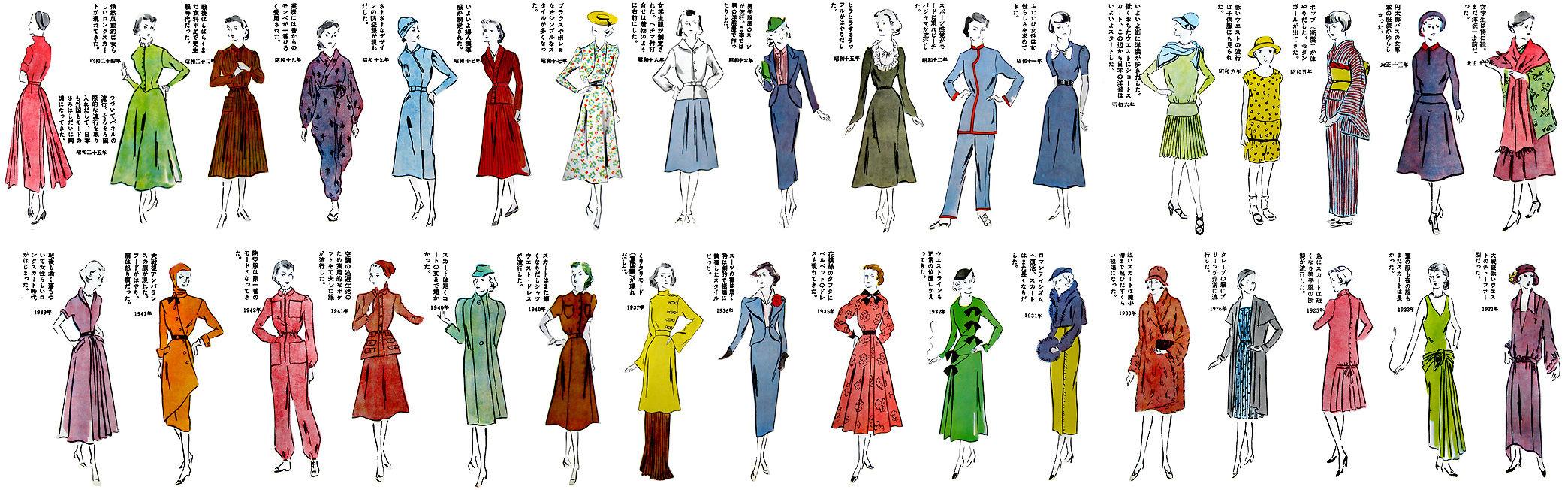 イラストはデザイン画の方なのでしょうか?イラストに添えられたコメントも同じ方です(なので、昭和初期のスカート丈など若干記事本文との食い違いがあって、そこが