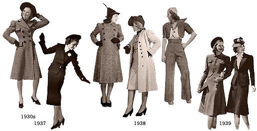 1930年代の後半1935,6年くらいから、全体に男性的な感じで、肩パッドなでど大きくした肩賞のついた角ばったいかり肩、タイトなスカート、などのミリタリー(軍隊)