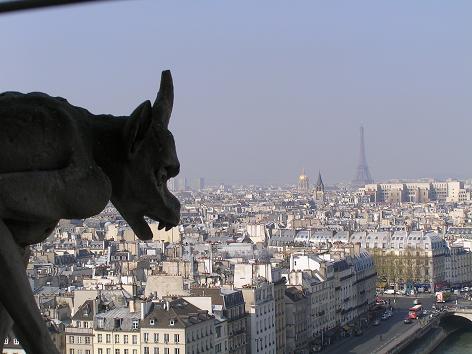 ノートルダム寺院、パリを見下ろすシメール