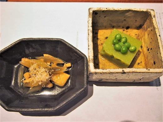 フキと油揚げ グリンピース豆腐