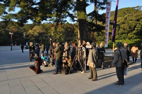 鳥居の前で写真を撮る人々