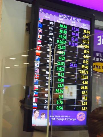 空港両替 1タイバーツ=3.8円