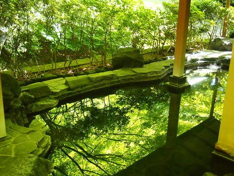 緑に染まる大浴場の露天