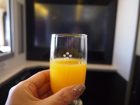 私のウエルカムドリンクはオレンジジュース