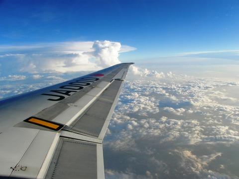 広島への飛行機から