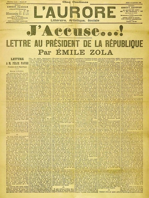 1898 Le journal L'Aurore Zola