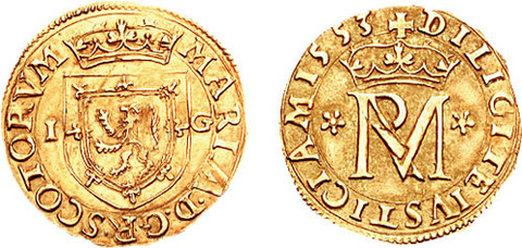 1553 obverse, coat of arms of Scotland; reverse, royal monogram