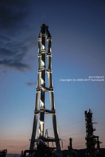 夕日とJXの煙突