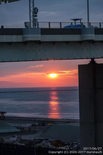 白鳥大橋下の夕日