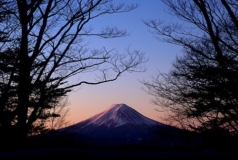 ヒュッテ資料_ヒュッテ南面からの富士