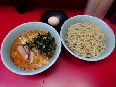 小ラーメン+つけ麺+生卵