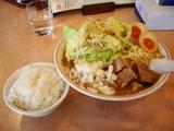 こってり醤油太麺(陣郎)麺増し+味付け玉子+小ライス