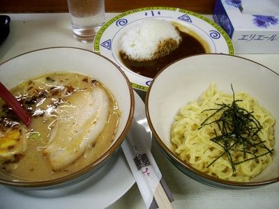 炙り焼豚トロつけ麺 ハーフカレーセット