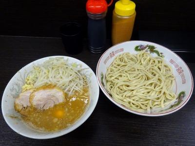 小ラーメン+つけ麺+生玉子