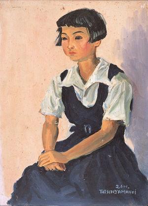山之井龍朗「少女」油彩、板