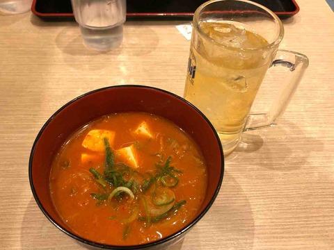 ミニ豆腐キムチチゲとハイボールでちょい飲み@松屋