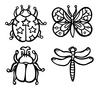 白黒天道虫蝶々甲虫蜻蛉