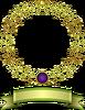 植物金枠金リボン(背景透過)