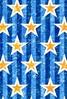 青ストライプと星クレヨン塗り